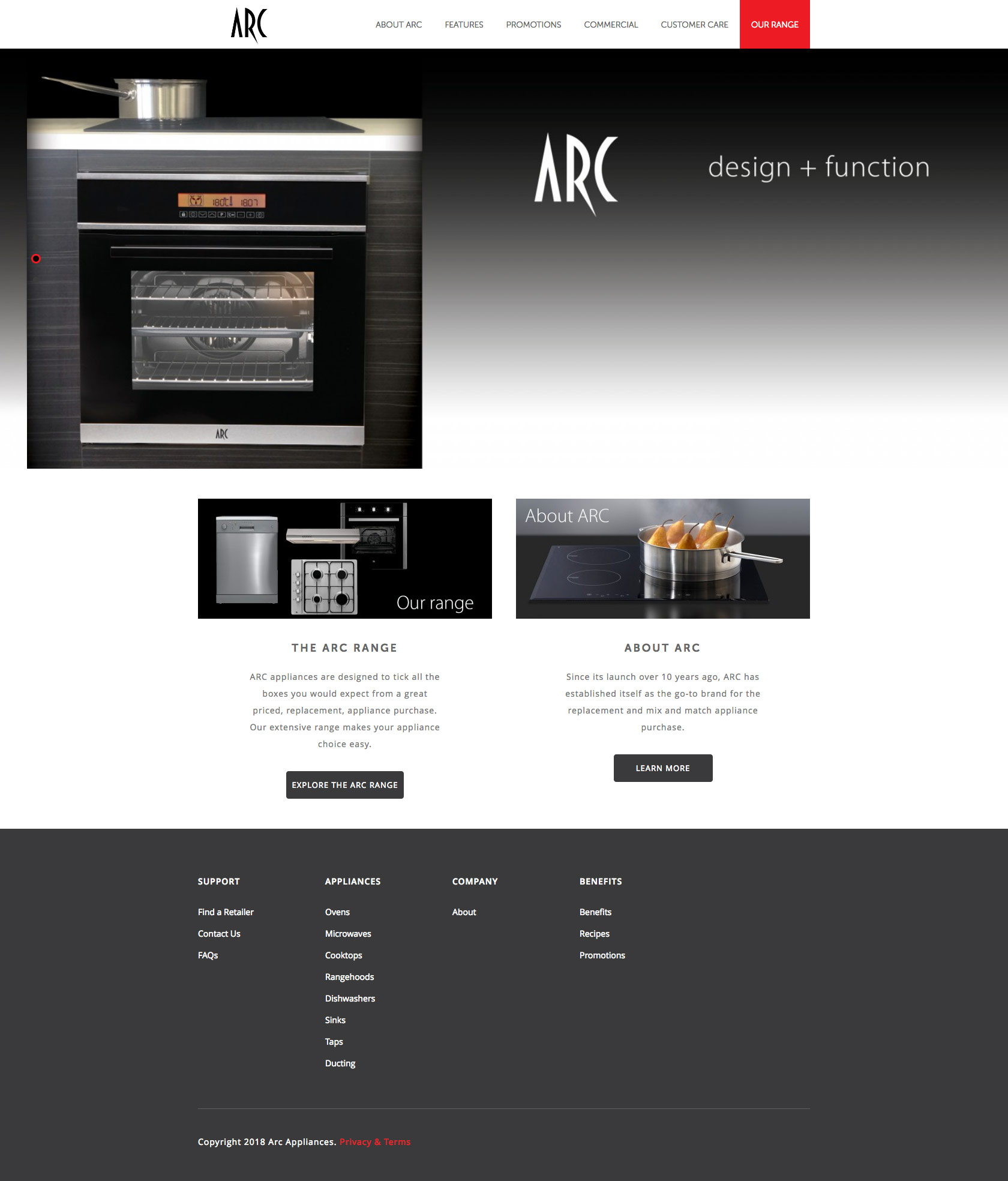 Arc Appliances Home Page
