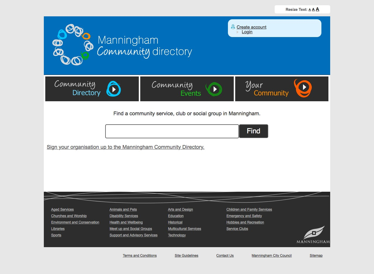 Manningham Community Directory Home Page